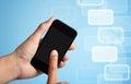 Écran tactile de main au téléphone intelligent Photos stock
