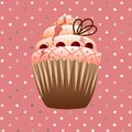 Cranberries cupcake on the pink background Royalty Free Stock Image