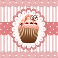 Cranberries cupcake on the pink background Stock Photos