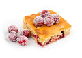 Cranberries dessert with orange peel on white Royalty Free Stock Photography