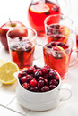 Cranberries with hot punch for winter Royalty Free Stock Images