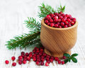 Cranberries ripe red wild on a wooden background Royalty Free Stock Photos