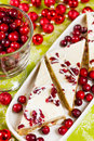 Cranberry bliss bar made with chunks of white chocolate and dried cranberries topped with sweet cream cheese icing Stock Images