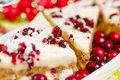 Cranberry bliss bar made with chunks of white chocolate and dried cranberries topped with sweet cream cheese icing Stock Photography