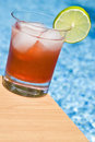 Cranberry Cocktail by the Pool Royalty Free Stock Photo