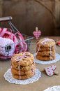 Cranberry cookies and basket with red and white ribbons, twine a Royalty Free Stock Photography