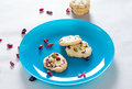Cranberry cookies on blue plate Stock Photo