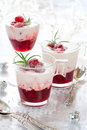 Cranberry dessert with cream Stock Photo