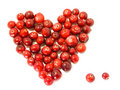 Cranberry heart / dew / valentine's food Stock Image
