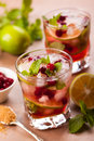 Cranberry mojito and brown sugar Royalty Free Stock Photo