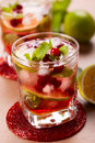 Cranberry mojito christmas and brown sugar Stock Photography