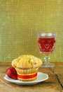 Cranberry Muffin On a Rustic Wood Table Royalty Free Stock Image