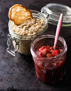 Cranberry relish and mushroom pate over dak backgroud Stock Photo