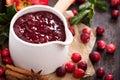 Cranberry Sauce In Ceramic Sau...