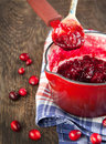 Cranberry sauce in a pan fresh homemade Royalty Free Stock Photography