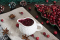 Cranberry sause in ceramic sausepan Royalty Free Stock Photo