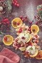 Cranberry waffles with orange ice cream Royalty Free Stock Photo