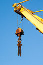 Crane arm and pulley or boom raised with Stock Image