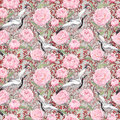 Crane birds, peony flowers. Floral repeating pattern, Asia. Watercolor Royalty Free Stock Photo