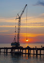 Crane catches the sun Royalty Free Stock Photo