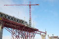 A crane on the construction of the central section of western high speed diameter saint petersburg russia Stock Photos