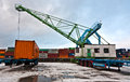 Crane and container mainz germany january in harbor in winter on january in mainz germany the harbor was build by eduard kreyssig Stock Image