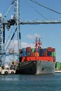 Crane container ship working port alicante spain Royalty Free Stock Image