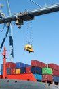 Crane container ship working port alicante spain Royalty Free Stock Photography