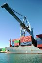 Crane container ship working port alicante spain Royalty Free Stock Photos
