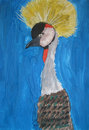 Crane crowned on a blue background child art Stock Photography