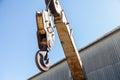 Crane hook on blue sky background Royalty Free Stock Images