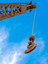 Crane hook in the harbor at blue sky Royalty Free Stock Photos