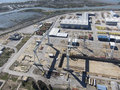 Crane industry aerial view of cadiz and puerto real shipyard Stock Images