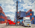 Crane lifter handling container box loading Royalty Free Stock Photo