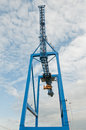 Crane machine container handling gantry on a container terminal Stock Photo