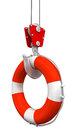 Crane raises lifebuoy image with clipping path Stock Photography