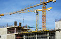 Crane sky beautiful view of yellow big blue Royalty Free Stock Photo