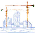 Crane and two point perspective of building in construction for multipurpose Stock Photo