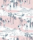 stock image of  Crane vector pattern bamboo japanese traditional seamless