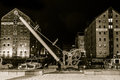 Crane and Warehouses, Gloucester Docks by night Royalty Free Stock Photo