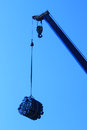 Crane a at work,a mechanical device Royalty Free Stock Images