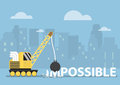 Crane with wrecking ball making the impossible possible silhouette city in background Royalty Free Stock Image