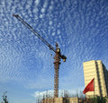 Cranes at construction site Royalty Free Stock Photography