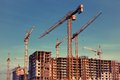 Cranes construction site with many Stock Image