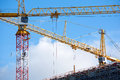 Cranes on a construction site Royalty Free Stock Photo