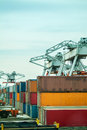 Cranes with containers in a harbor Royalty Free Stock Photography
