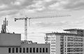 Cranes in gdansk poland february construction operation view of the district of zaspa Stock Photo