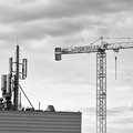 Cranes in gdansk poland february construction operation view of the district of zaspa Stock Photography