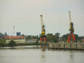 Cranes at industrial harbor in la boca buenos aires Royalty Free Stock Photo