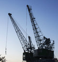 Cranes  at night, construction site Royalty Free Stock Photo